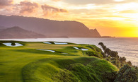 Princeville Makai Golf Club 7th Hole at Sunset with Mount Makana in background (named Bali Hai in the movie South Pacific)